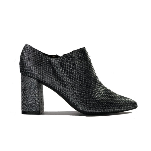 Marnie Reptile Patterned Vegan Bootie - Silver | Vegan Shoes Australia