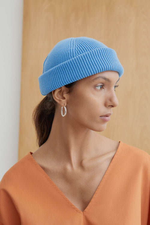 Kowtow Spellbound Beanie Camel Sky Blue | Winter Hats | Organic Cotton