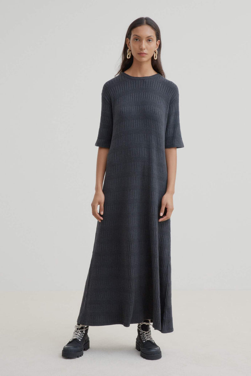 Kowtow Statue Dress - Charcoal Marle | Ethical Winter Dresses Australia
