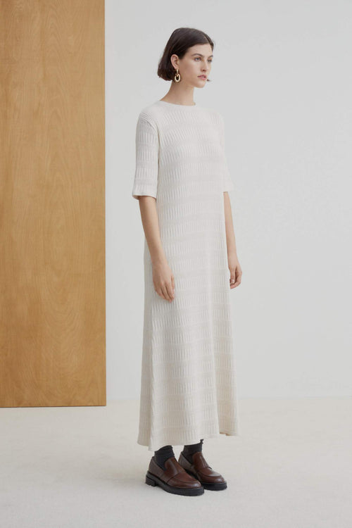 Kowtow Statue Dress - Sand Marle | Ethical Winter Dresses Australia