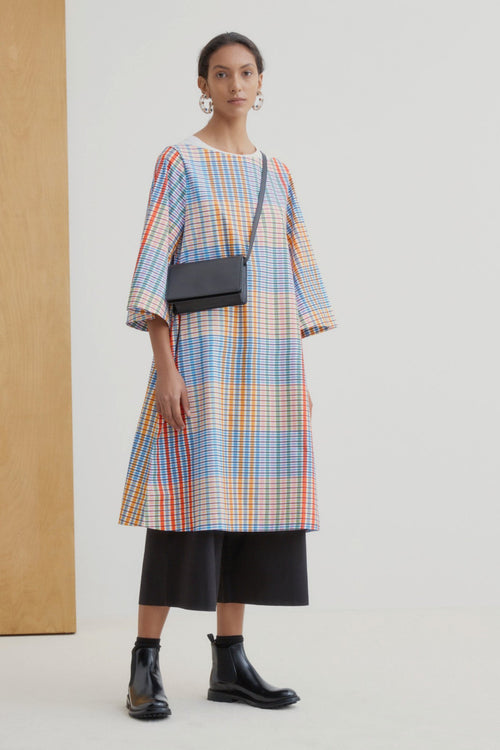 Kowtow Symmetry Dress Painter Check | Ethically Made Winter Dress
