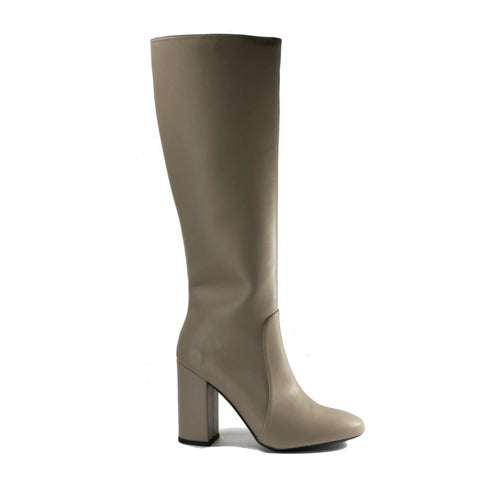 Claudia Knee-High Vegan Leather Boots - Taupe | Vegan Boots Australia