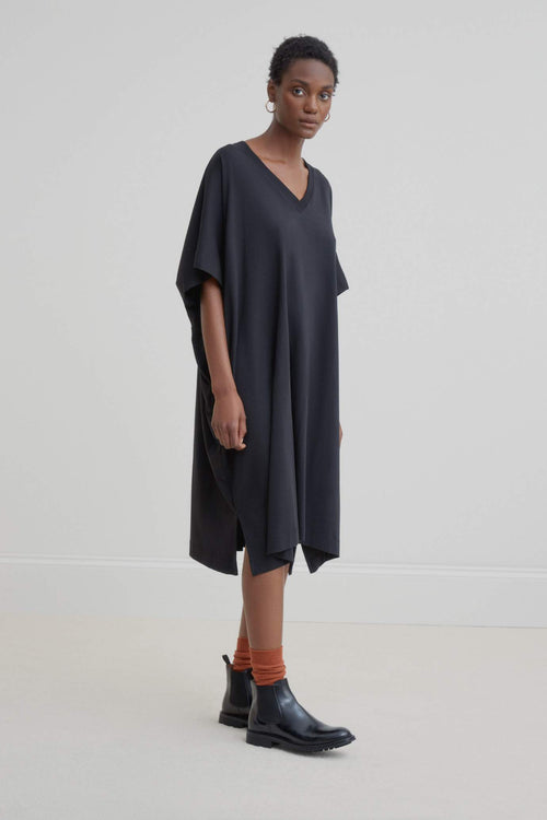 Kowtow V-Neck Dress Black | Black Winter Dress | Organic Cotton