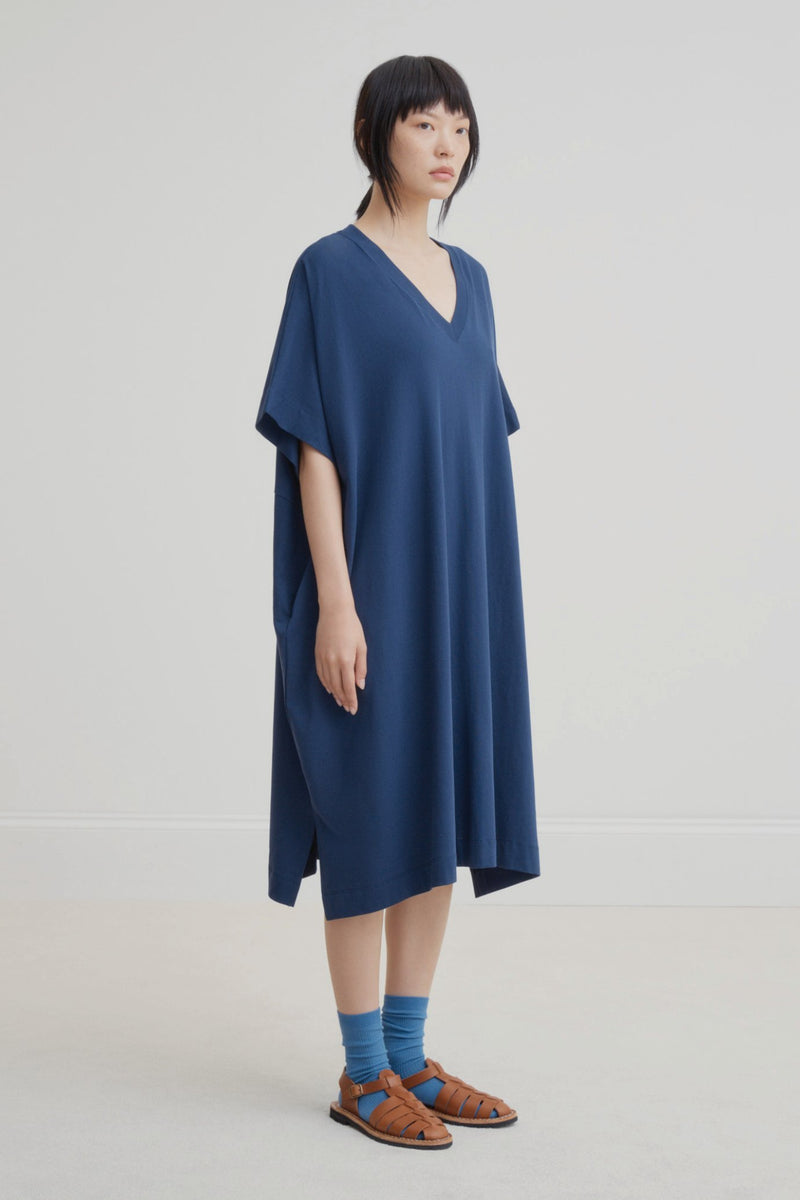 Kowtow V-Neck Dress Navy | Ethically Made Winter Dress | Organic Cotton
