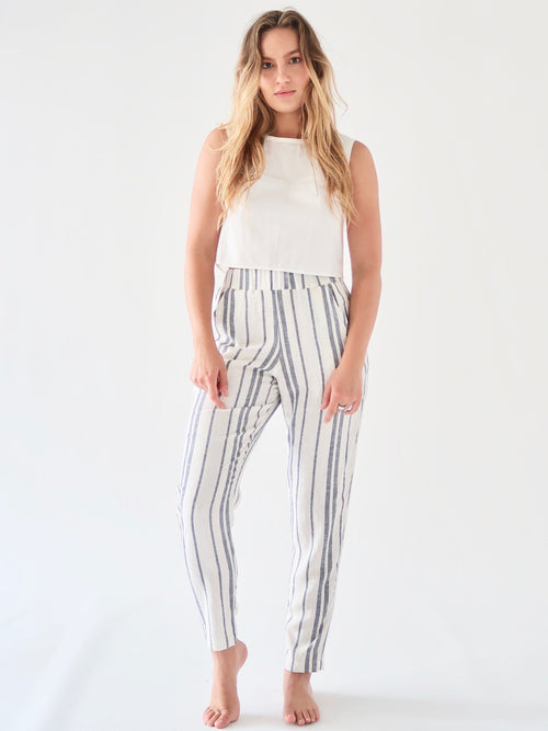 Tapered Linen Pants - Stripe