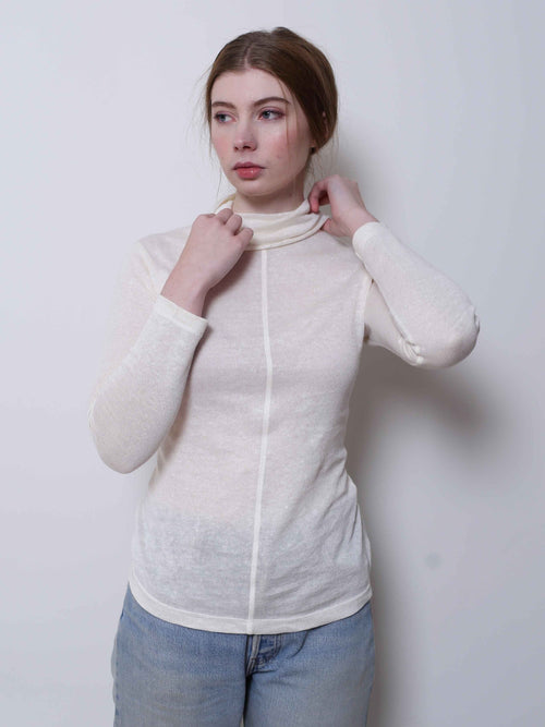 Cream Linen Skivvy | Theo Theo Label | Ethical Womens Fashion