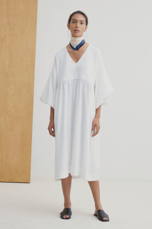 Kowtow Yoshi Dress White | Ethical Winter Dress | Organic Cotton