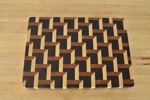 3D Staggered Steps End Grain Butcher Block - Halsey Hardwood