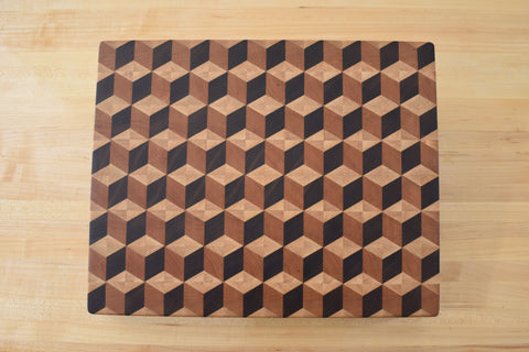 3D Tumbling Blocks End Grain Butcher Block.