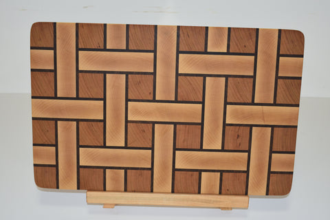 Basket Weave End Grain Butcher Block - Halsey Hardwood