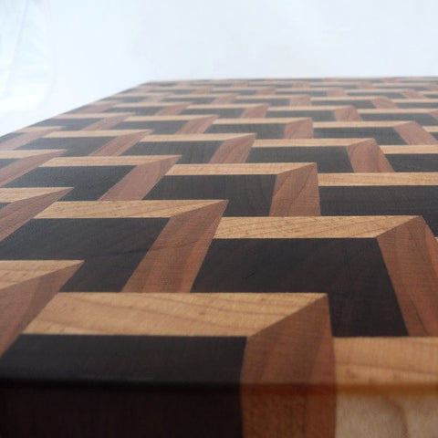 3D Staggered Steps End Grain Butcher Block