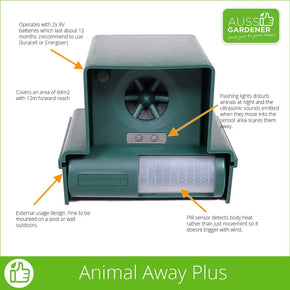 ANIMAL AWAY PLUS ULTRASONIC PEST SCARER