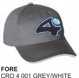 'Fore' and 'Heads Up'  GREY-WHITE, Golf Hat by LonsumCro Powered by GolfSwag