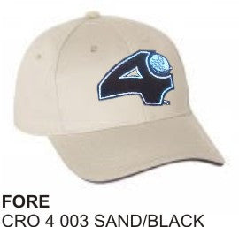'Fore' and 'Heads Up'  Sand and Black, Golf Hat by LonsumCro Powered by GolfSwag