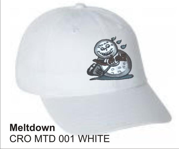 'Meltdown'  in WHITE color, Golf Hat, LonsumCro Powered by GolfSwag