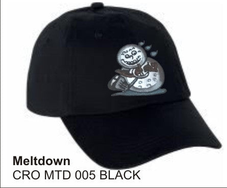 'Meltdown'  in Black color Twill and wicking finish, Golf Hat, LonsumCro Powered by GolfSwag