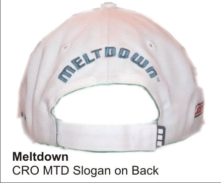 'Meltdown'  in WHITE color Twill and wicking finish, Golf Hat, LonsumCro Powered by GolfSwag