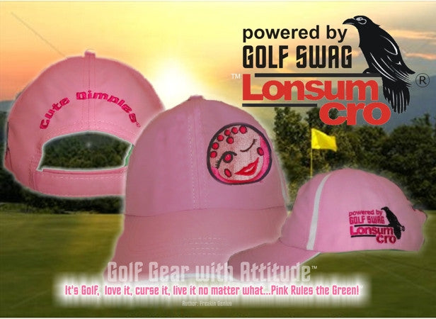 'Cute Dimples'  in Pink and White stripes, Golf Hat by LonsumCro Powered by GolfSwag