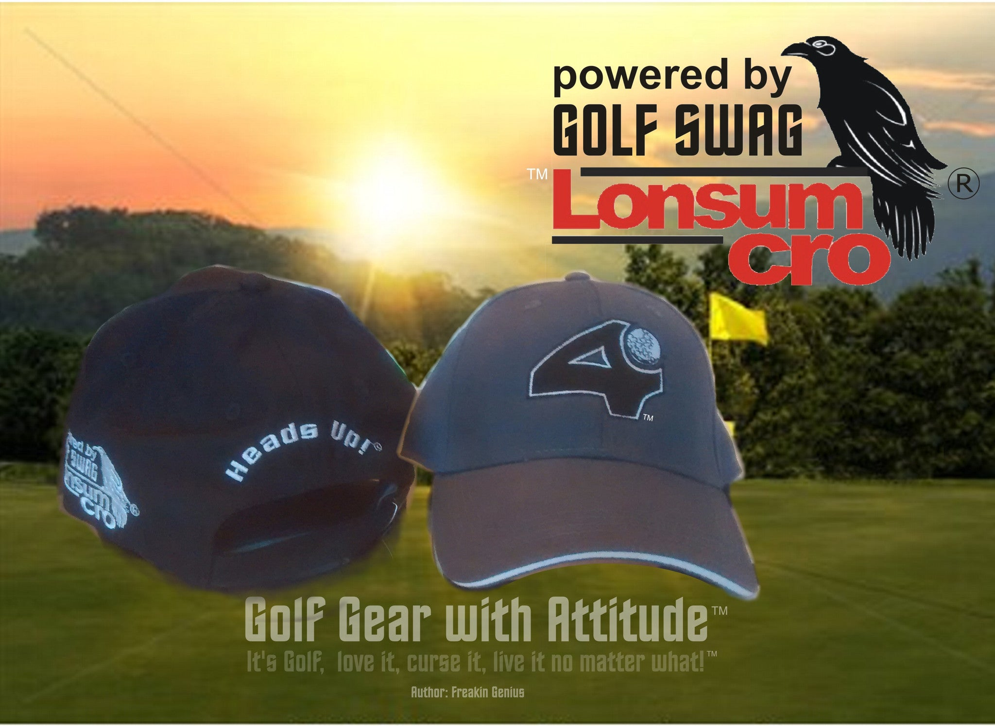 'Fore' and 'Heads Up' BLACK and WHITE, Golf Hat by LonsumCro Powered by GolfSwag