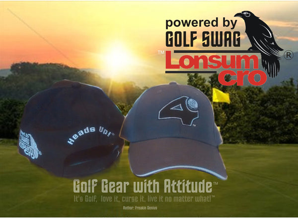 'Fore' and 'Heads Up'  Golf Hat by LonsumCro Powered by GolfSwag