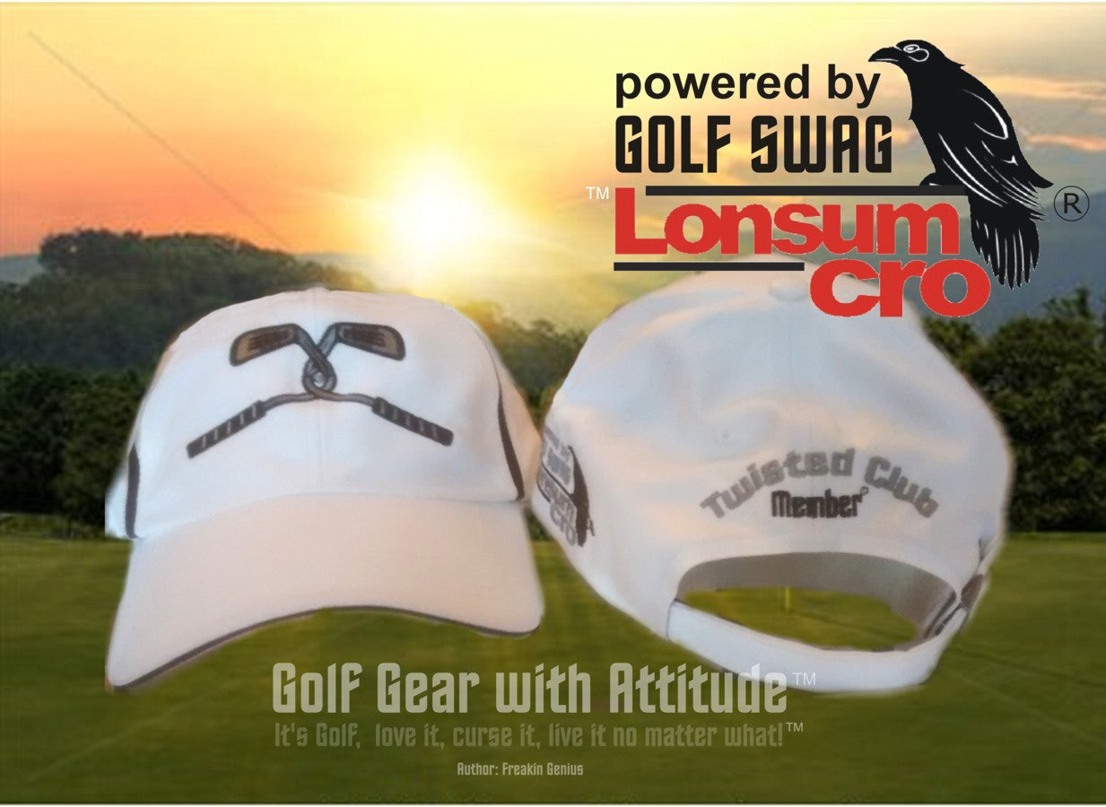 Twisted Club Member Golf Hat by LonsumCro Powered by GolfSwag - WHITE,