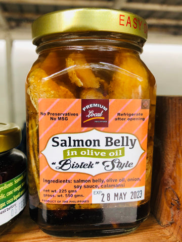 Salmon Belly In Olive Oil Bistek Style, 8 oz.