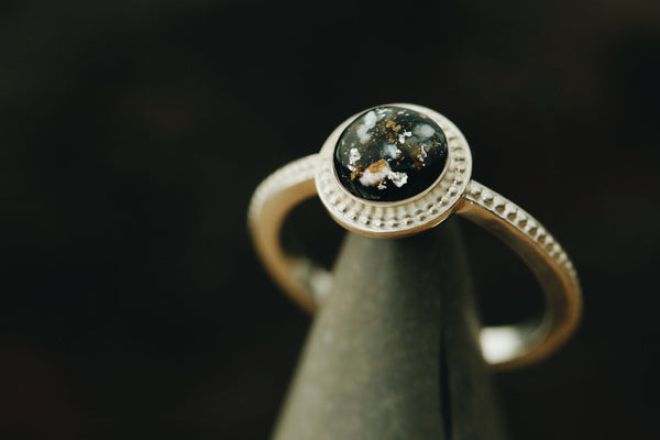 Round Beaded Halo Ring