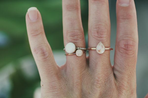 Solid Gold Beaded Ring
