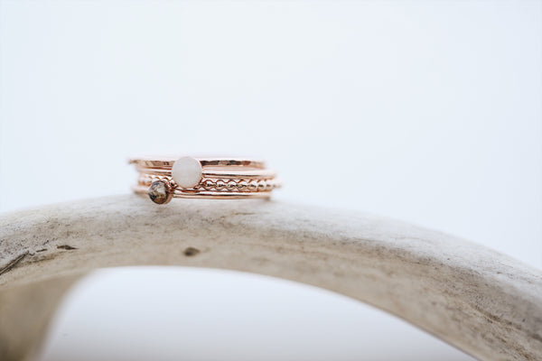 Solid Gold 4 Ring Stacked Set