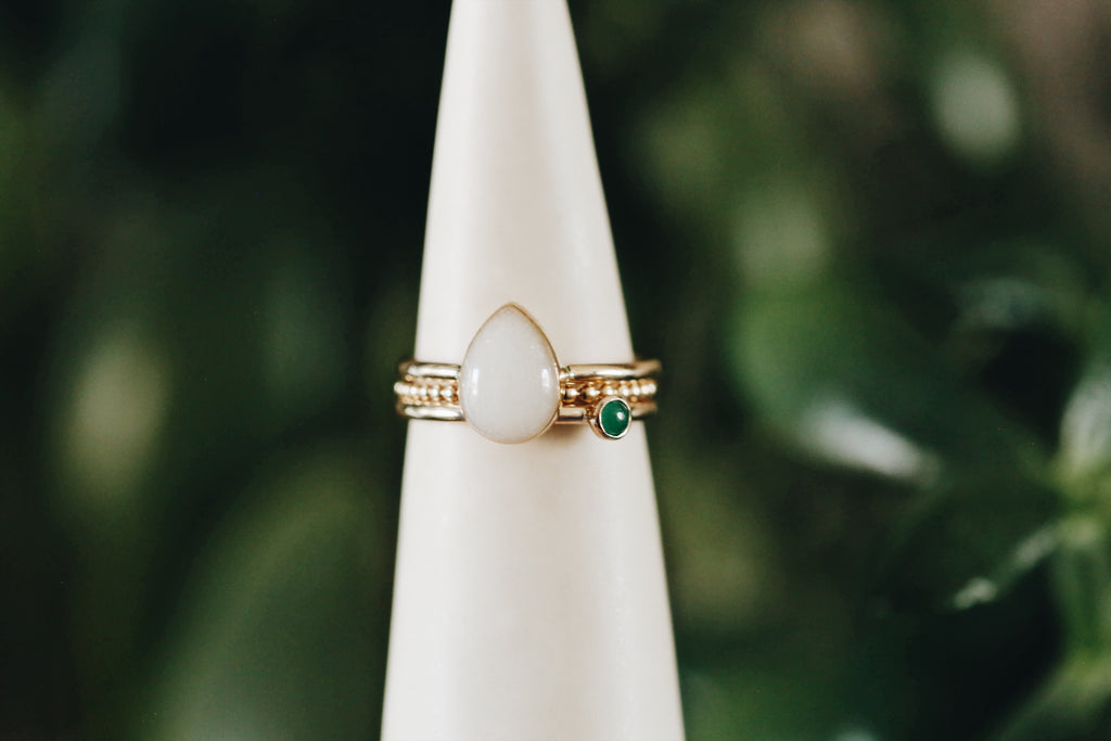 Solid gold drop ring stacked set