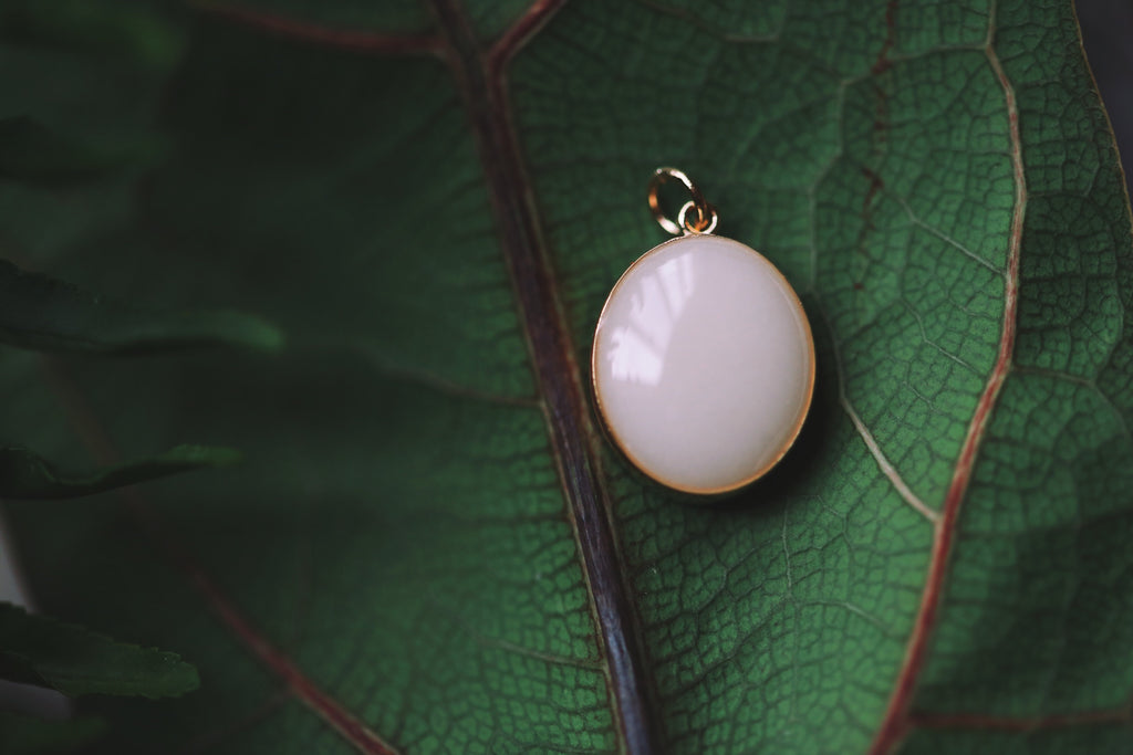 Solid Gold Oval Pendant