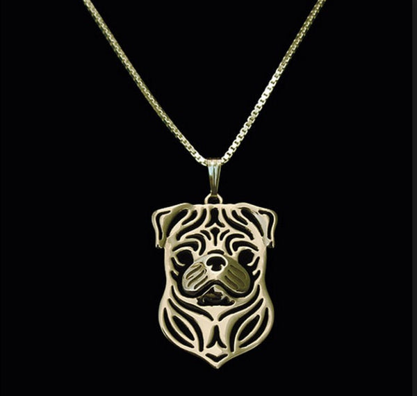 Gold Dog Pug Pendant Necklace - pretty pug pics