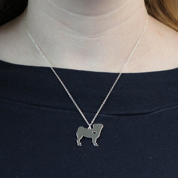Pug Heart Necklace - pretty pug pics