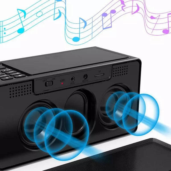 Wireless Charger Digital Clock Projector Bluetooth Speaker