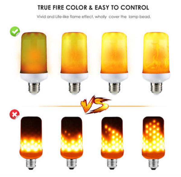LED Flame Fire Effect Light Bulbs E27