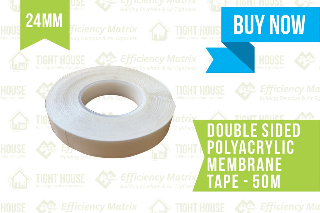 Double-sided polyacrylic Membrane Tape 24mm (50 metres) per Roll - Tight House