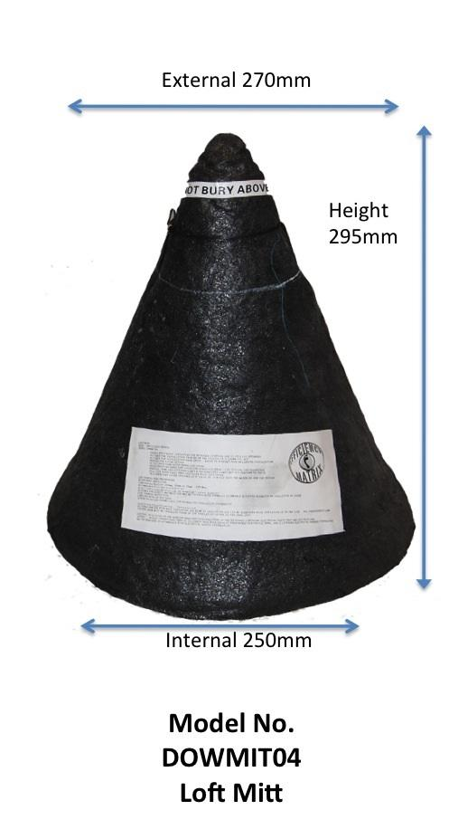 Dimensions of  DOWMIT04 Fire Rated Loft Cover / Mitt - Tight House