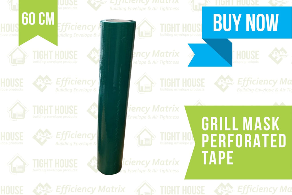 Grill Mask Tape (60cm) Perforated every 60cm (60m) - Air Leakage Testing - Tight House