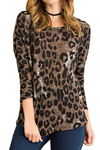 Cheetah Print Blouse, Long Sleeve Tops