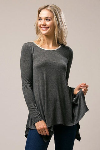 Charcoal Comfy Nights Tunic, Long Sleeve Tops
