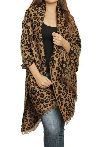 Cheetah Print Fringed Wrap Scarf, Scarves