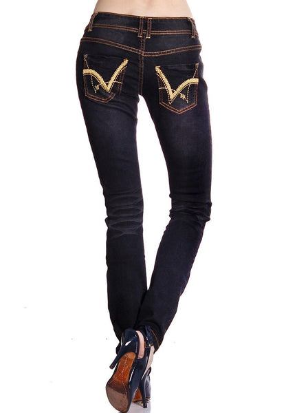Black Denim Distressed Jeans, Jeans