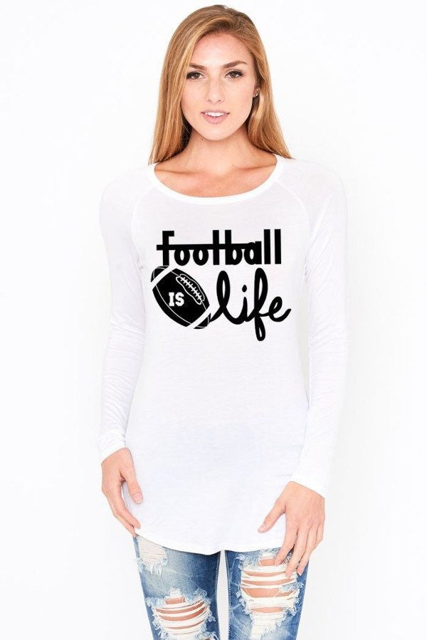 Football Is Life White Long Sleeve Top, Long Sleeve Tops