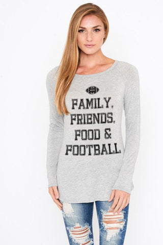 Family Friends Food & Football Gray Print Top, Long Sleeve Tops