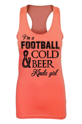 I'm A Football & Cold Beer Kinda Girl Graphic Print Tank Top, Orange, Tank Tops