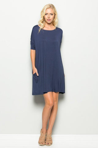 Adorable Annabelle Oversized Pocket Dress Blue, Knee High Dresses