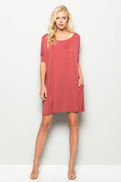 Adorable Annabelle Pocket Dress, Auburn, Knee High Dresses