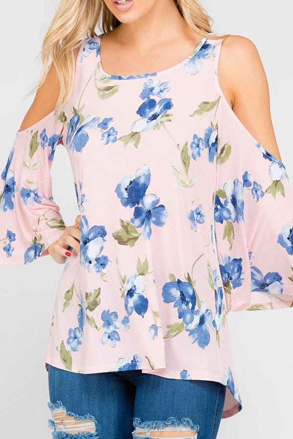Dusty Pink Cold Shoulder Blue Floral Print Top | Carefree Trends