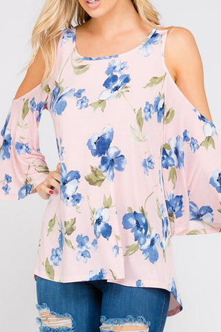 Dusty Pink Cold Shoulder Blue Floral Print Top, Long Sleeve Tops
