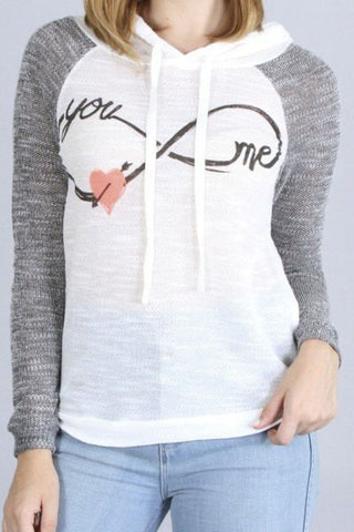 White and Grey Infinity Love Hoodie, Hoodies